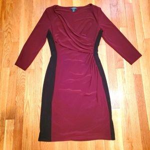Ralph Lauren long sleeve v neck dress red black